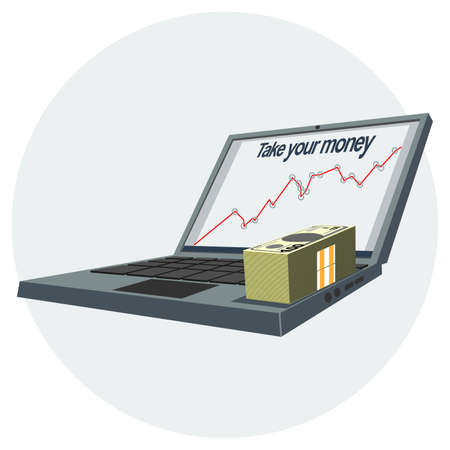 growing success: Notebook pc icon with growing success chart on the screen and money. Digital vector image.