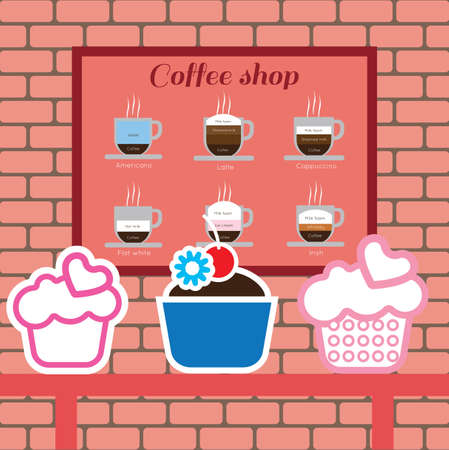 cappucino: Set of cakes and coffee shop items with americano, latte, cappucino, flat white and irish, over pink background with bricks. Digital vector image Illustration