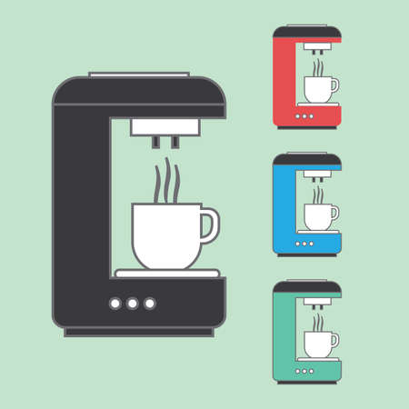 coffee machines: A set of coffee machines pouring hot coffee in white cups, over a light green background. Red, blue and green. Digital vector image
