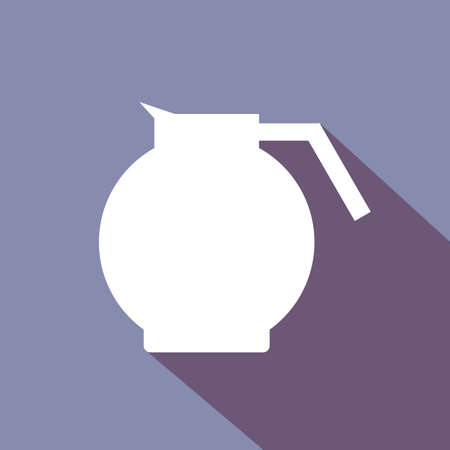coffee jar: A white coffee jar with shadow, in outlines, over a purple background. Digital vector image.