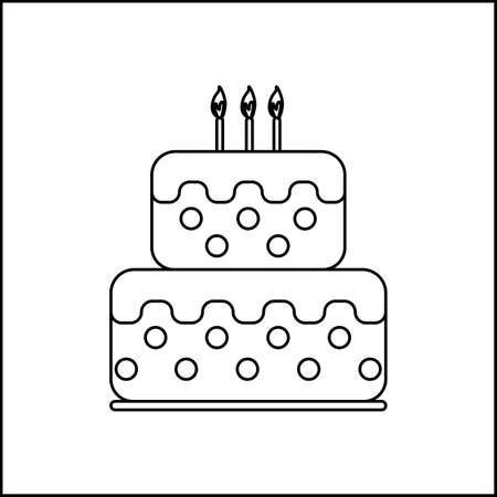 fudge: Card with a cream cake and burning candles on top over a white background, in black and white outline style. Digital vector image.
