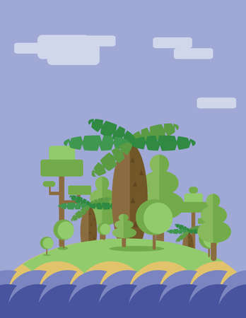 ion: Abstract landscape design with green trees, clouds and ocean waves ion an island, flat style. Digital vector image.