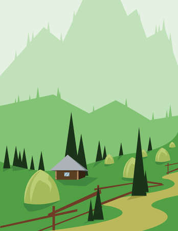 sheep road sign: Abstract landscape design with green trees and hills, a brown house and hay in the mountains, flat style. Digital vector image. Illustration