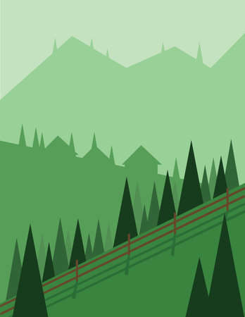 sheep road sign: Abstract landscape design with green trees and hills, houses in the mountains and a fence, flat style. Digital vector image.