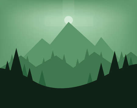 sheep road sign: Abstract landscape design with green trees, hills, fog and the moon at night, flat style. Digital vector image.