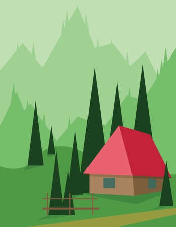 sheep road sign: Abstract landscape design with green trees and hills, a red house in the mountains, flat style. Digital vector image. Illustration