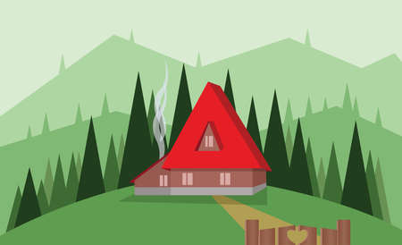 sheep road sign: Abstract landscape design with green trees, hills and fog, big red house with wooden gate, flat style. Digital vector image.