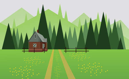 Abstract landscape design with green trees, hills and fog, a house and a road with yellow flowers on fields, flat style. Digital vector image. Illustration