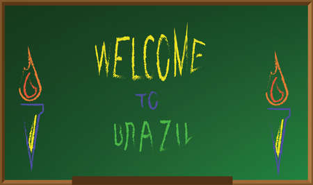 green board: Welcome to brazil, colored hand drawn text witch chalk on green board, torch icons . Digital vector image Illustration