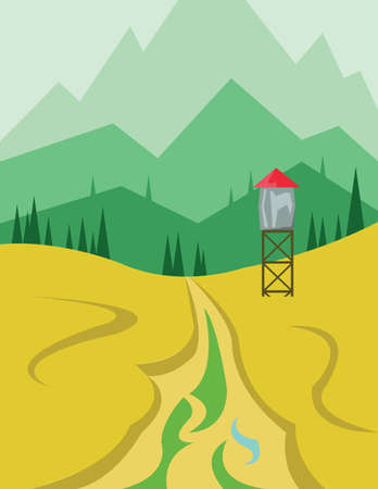 green hills: Abstract landscape design with green hills and trees, a security tower near the road, flat style. Digital vector image. Illustration