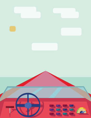 tropical beach panoramic: Abstract design with a red boat on the water, view from captain place, flat style. Digital vector image. Illustration