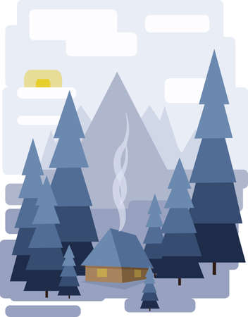 sheep road sign: Abstract landscape design with white trees and clouds, a house with smoke, snowing in a forest in winter, flat style. Digital vector image. Illustration