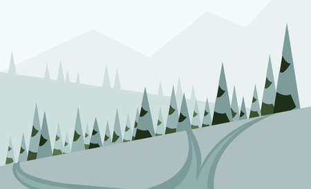 sheep road sign: Abstract landscape design with green trees, hills and snow, a road in winter pine forest, flat style. Digital vector image.