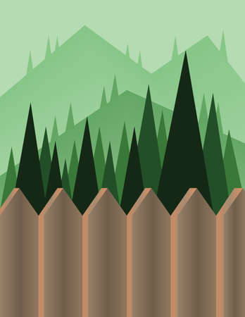 sheep road sign: Abstract landscape design with green trees and hills, a brown fence and view to mountains, flat style. Digital vector image. Illustration