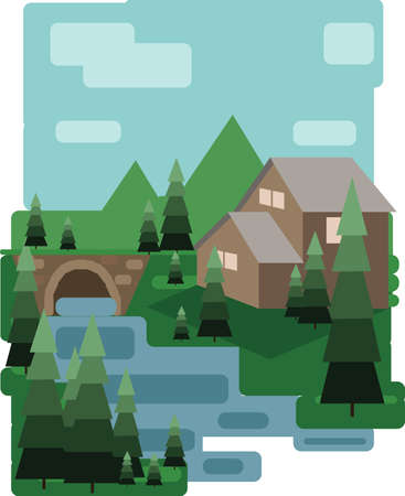 sheep road sign: Abstract landscape design with green trees and clouds, a house and a bridge near a lake, flat style. Digital vector image. Illustration