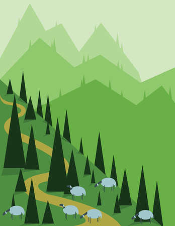 sheep road sign: Abstract landscape design with green pine, hills and fog, sheeps on fields, flat style. Digital vector image. Illustration