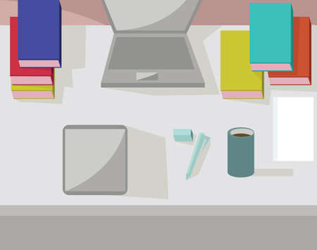 working place: Abstract working place, modern office interior, flat design. Digital vector image