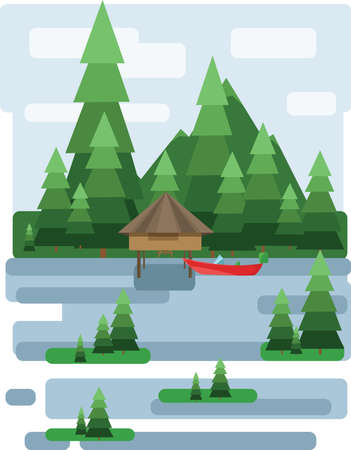 lake house: Abstract landscape design with green trees and clouds, a house and a boat on a lake, flat style. Digital vector image.