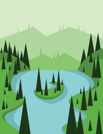 sheep road sign: Abstract landscape design with green trees and flowing river, view from top to an island, flat style. Digital vector image.