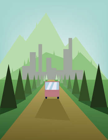 sheep road sign: Abstract landscape design with green trees and hills, a brown road with a bus and view to mountains and the city, flat style. Digital vector image. Illustration