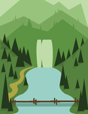 flowing river: Abstract landscape design with green trees, a bridge and flowing river, view to mountains, flat style. Digital vector image.
