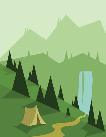 flowing river: Abstract landscape design with green trees and a tent, a flowing river, view to mountains, flat style. Digital vector image.