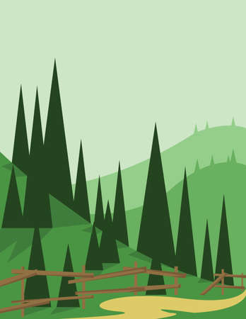 Abstract landscape design with green trees and hills, a road and wooden fence, flat style. Digital vector image. Illustration