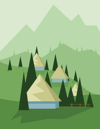 yellow hills: Abstract landscape design with green trees and hills, yellow houses in the mountains, flat style. Digital vector image.