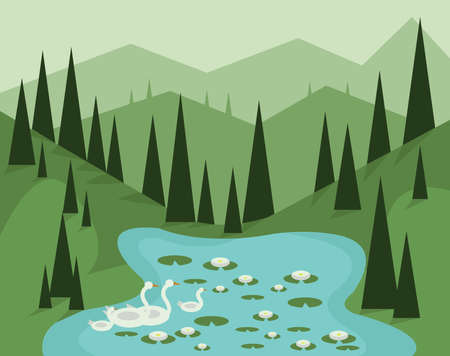 sky and grass: Abstract landscape design with green trees, hills and fog, geese swimming in a lake with waterlilies, flat style. Digital vector image.