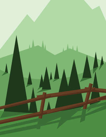 sheep road sign: Abstract landscape design with green trees and hills, brown wooden fence, flat style. Digital vector image. Illustration