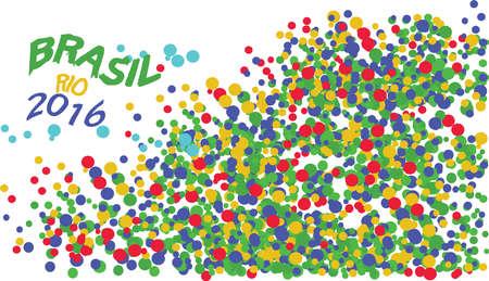 corcovado: Brasil, Rio 2016 logo with colored circles. Digital vector image.