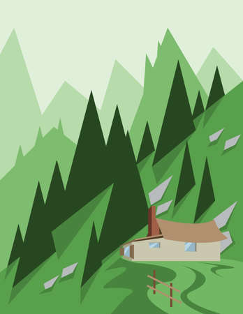 sheep road sign: Abstract landscape design with green trees and hills, a house in the mountains, flat style. Digital vector image.