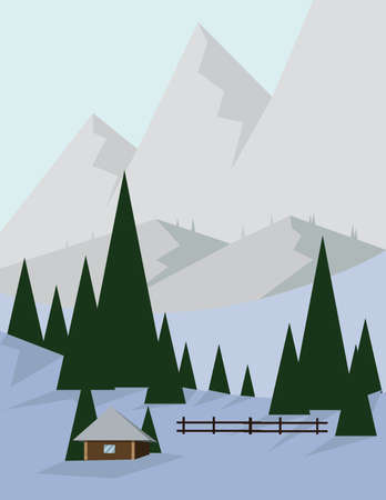 sheep road sign: Abstract landscape design with green trees and silver mountains, a house in the forest and snow, flat style. Digital vector image. Illustration