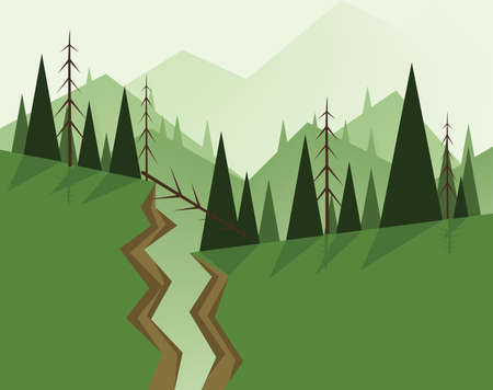 sky and grass: Abstract landscape design with green trees, hills, fog and a chasm, flat style. Digital vector image.