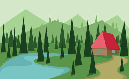 sheep road sign: Abstract landscape design with green trees, hills and fog, big red house near a lake, flat style. Digital vector image.