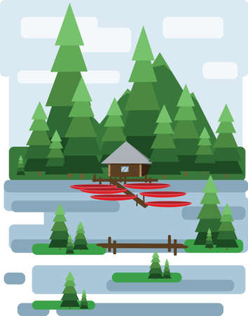 virgin islands: Abstract landscape design with green trees and clouds, a house and a boats on a lake, flat style. Digital vector image.