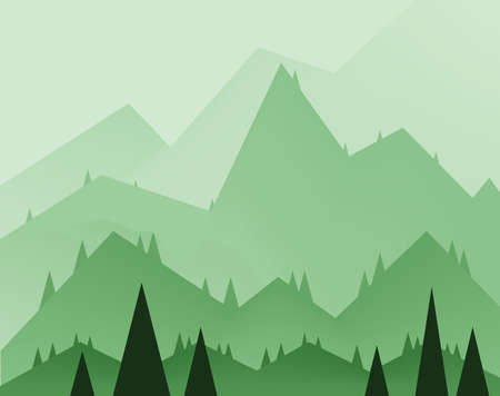 sheep road sign: Abstract landscape design with green trees, hills and fog, flat style. Digital vector image.