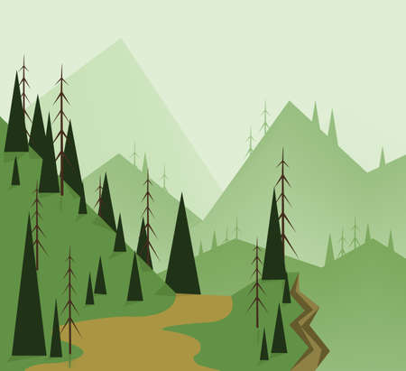 clouds scape: Abstract landscape design with green trees, hills, road and a chasm, flat style. Digital vector image. Illustration