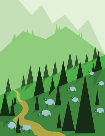 sheeps: Abstract landscape design with green trees, hills and fog, sheeps on fields, flat style. Digital vector image.