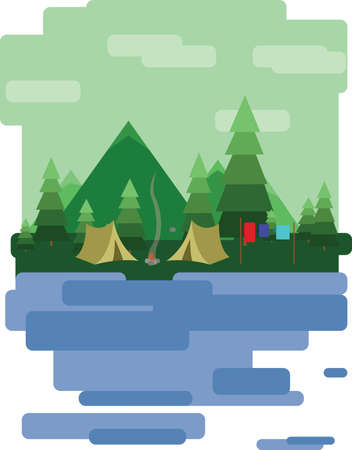 sheep road sign: Abstract landscape design with green trees and clouds, tents in the forest and a lake, flat style. Digital vector image.
