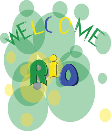 corcovado: Welcome rio, colored hand drawn text on white backdrop. Digital vector image