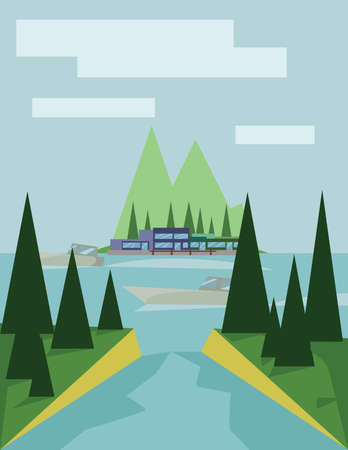 sheep road sign: Abstract landscape design with green trees, clouds, a boat on a lake, view to island, flat style. Digital vector image.