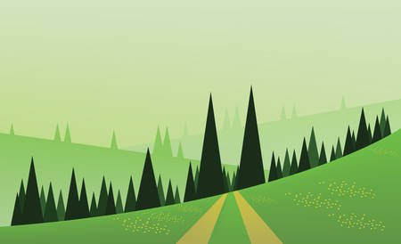 yellow hills: Abstract landscape design with green trees, hills and fog, a road and yellow flowers on fields, flat style. Digital vector image.