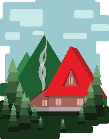 sheep road sign: Abstract landscape design with green trees and clouds, a red house with smoke, flat style. Digital vector image.