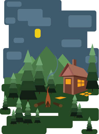 fire place: Abstract landscape design with green trees and clouds, a house in the forest and fire place at night, flat style. Digital vector image.