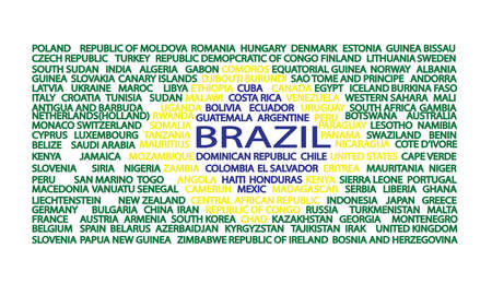 corcovado: List of country names in the order of flag of Brazil. Digital vector image