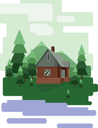 sheep road sign: Abstract landscape design with green trees and clouds, a house in the forest and a lake, flat style. Digital vector image.