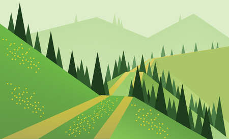 sheep road sign: Abstract landscape design with green trees, hills and fog, a road and yellow flowers on fields, flat style. Digital vector image.