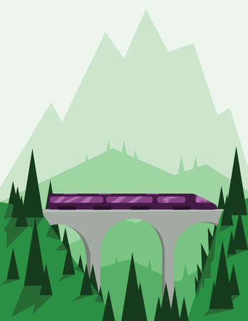 sheep road sign: Abstract landscape design with green mountains and hills, a fast purple train on a bridge, flat style. Digital vector image.