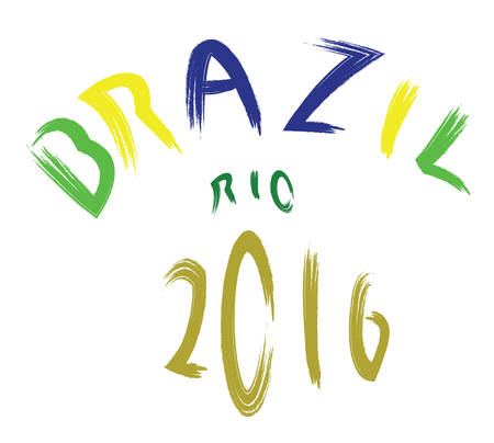 corcovado: Brazil rio 2016 colored hand drawn text on white backdrop. Digital vector image